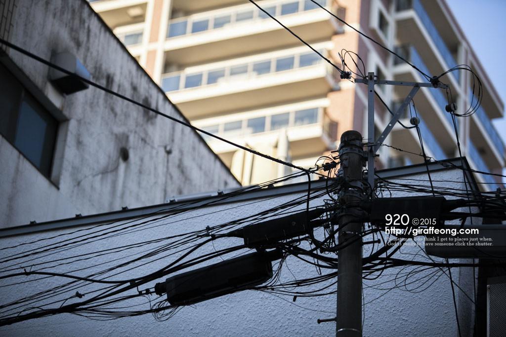 電線とビルの明暗