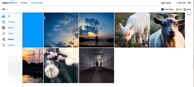 右上のHelloってところをクリックすると日本語に変更できました。アップロードした写真も問題なく見れますねー。