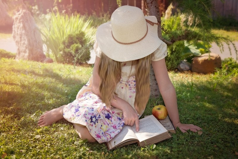 person-human-child-girl-hat-long-hair-book-read